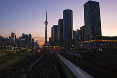Rush Hour Blur (cjb_photography) Tags: outdoors toronto torontophoto torontoclicks torontolife skyline skyscrapers skygazing buildings the6ix rushhour train go transit tracks trainspotting railways railway