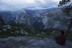 Andrew with Half Dome (Alec (Rebel T3i)) Tags: blue trees cloud white tree gre