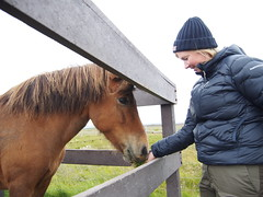 Anette trying to communicate with her new friend!