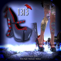 Looking Glass Slippers (Tequilla Mockingbird) Tags: life new stockings cat hearts shoes cheshire mesh circus alice release gothic goth lara secondlife second heels mad maryjanes wonderland belleza physique newrelease fitted maitreya slink fitmesh