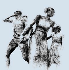 Refugees (beelzebub2011) Tags: bw sculpture canada vancouver artwork britishcolumbia fisheye immigrants hdr highdynamicresolution