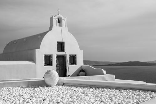 Oia church b/w 2