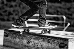 Skate (Foto-Monster) Tags: boy summer blackandwhite bw sport contrast fun happy skateboarding action young sneakers nike skate trick goodweather