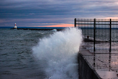 lighthouse water (urbs3610) Tags: winter sea lighthouse lake cold water outdoor mother superior marquette breakwall becon
