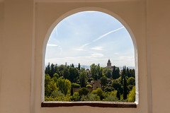 View from the Generalife Palace (Mister Electron) Tags: gardens spain arches palace andalucia espana alhambra granada viewpoint generalife whitewash nikond800
