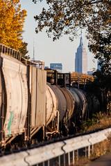 The New York Market (sullivan1985) Tags: newyorkcity ny skyline newjersey nj esb manhattanskyline empirestatebuilding freightyard freightcar