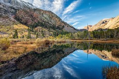 Lundy Beaver Pond (Kirk Lougheed) Tags: california morning autumn sky usa cloud reflection fall animal clouds landscape pond unitedstates outdoor beaver easternsierra inyonationalforest lundycanyon