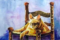 Sleeping cat 02, by Ademar - DSC01563 (Dona Minúcia) Tags: sleeping cute art animal cat watercolor painting paper chair arte inspired study gato tribute homage fofo dormindo pintura cadeira homenagem releitura aquarela inspirado gracinha rereading rachelparker relecture