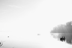 Fishing (Benny2006) Tags: blackandwhite lake reflection tree water fog forest boat fishing exposure foggy