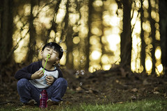 Bubbles (3dRabbit) Tags: trees boy sunset portrait usa color tree glass kids rural forest canon ga circle lens glasses kid woods child play outdoor farm magic dream kinder round bubble 135mm bokkeh sungjinahn