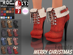 ::ROC:: High Heel Winter Boot (ROC FASHION) Tags: santa christmas xmas autumn winter red brown white black sexy classic up female roc boot high shoes pumps mesh lace platform khaki sl secondlife footwear heel stiletto ankle suede rigged tmp slink unrigged roscee patpack