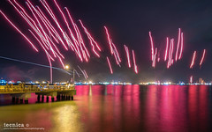 Stroke of Midnight (t3cnica) Tags: longexposure landscapes singapore ships cityscapes newyear flare tradition eastcoast nightscapes bedokjetty lighttrail 2016 exposureblending digitalblending