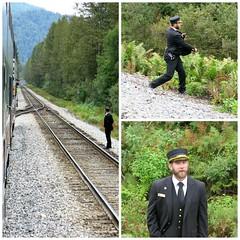 McKinley Explorer ~ Conductor collage (karma (Karen)) Tags: mckinleyexplorer alaska trains tracks conductor collages picmonkey