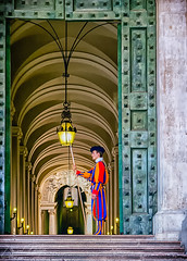 Swiss Guard (Photography by Lionel Philip) Tags: vatican guard swiss travel orange green yellow blue stairs door italy rome vanishing point