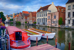 Boats in the canal at Ghent, Belgium (` Toshio ') Tags: toshio ghent gent belgium belgian europe european canal river water boat cruise city europeanunion fujixe2 xe2 dock dockside riverside