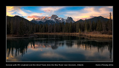 Sunrise with Mt. Lougheed and the Wind Tower from the Bow River near Canmore, Alberta (kgogrady) Tags: bowriver fall landscape mtlougheed thewindtower canmore alberta canada trees westerncanada sunrise albertariver canadianlandscapes fx canadianrockies bowvalley cans2s 2016 albertalandscapes canadianrockieslanscape canadianmountains ab d800 d800e clouds mountains nikon2470mmf28fxafsgednikkor nikon nopeople flowingwater noone nikkor picturesofalberta photosofalberta panorama pano reflection river