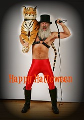 Happy Halloween (Cowboy Tommy) Tags: tiger tophat spandex boxer shorts underwear bulge crotch boots leather harness bondage legs beard bearded sex sexy muscle muscles hairy fur furry animal ringmaster chest shirtless barechest costume halloween portrait