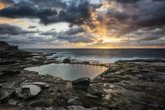 Golden (Crouchy69) Tags: sunrise dawn landscape seascape ocean sea water coast rocks clouds sky mahon pool maroubra beach sydney australia