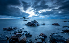 Blue world (Mika Laitinen) Tags: balticsea europe finland helsinki kallvik leefilters scandinavia vuosaari beach blue cliff color dusk landscape longexposure nightfall rock sea seascape sunset water winter uusimaa fi