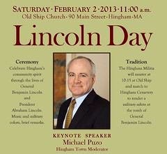 Lincoln Day 2013 (Old Derby) Tags: poster lincolnday benjaminlincoln abrahamlincoln militia hinghammilitia