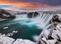 Snow Fall (blame_the_monkey) Tags: iceland xt2 europe fujifilm godafoss landscape longexposure portfolio snow sunset travel water waterfall winter