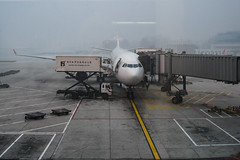 About to leave foggy/smoggy Beijing (NettyA) Tags: 2006 beijing china sonydscw1 airport fog plane travel asia smog