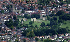 Aerial view of Glastonbury Abbey ruins in Somerset (John D F) Tags: glastonbury somerset aerial aerialphotography aerialimage aerialphotograph aerialimagesuk aerialview britainfromabove britainfromtheair abbey ruins