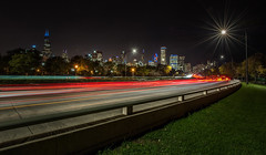 Lake Shore Drive Skyline (ShutterRunner) Tags: chicago skyline night lakeshoredrive lightgraffiti
