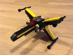 Blacktron X-wing Fighter (Roy Abbink) Tags: lego star wars blacktron xwing black yellow red