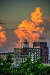 Pillsbury A Mill on fire! (schwerdf) Tags: cloudscapes goldenhour hdr illusions millingdistrict minneapolis minnesota pillsburyamill sunsets thunderclouds