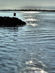 The harbour bar (cyclingshepherd) Tags: portugal water birds sign bar river island waves waterfront harbour gulls twinkle lagoon september sparkle algarve formosa isle isla ilha ria riaformosa breakwater olhao olho 2015 armona