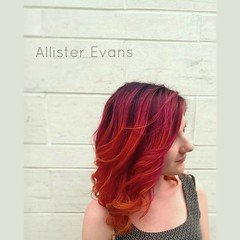 Purple-Pink-Orange-Yellow (callmeallister) Tags: pink orange yellow purple curls ombre pinkhair beautifulhair purplehair yellowhair summerhair mediumhair colorfulhair fallhair elumen ornagehair