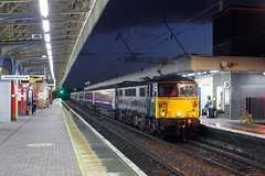 '87002' Warrington Bank Quay 24th October 2015 (John Eyres) Tags: city stock move depot charge sleeper inter caledonian wembley 1426 briefly wbq pauses polmadie 87002 5s11 241015