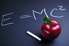 Apple and Einstein formula (martinuslokbere) Tags: school red food apple chalk healthy education energy board text letters einstein nuclear science formula equation physics mathematics stick concept conceptual blackboard elementary relativity calculate