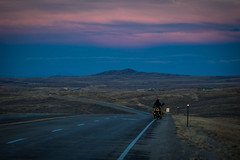 Cycling in to Hanna, WY at dusk.