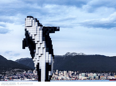 Digital Orca in downtown Vancouver (Vincent Demers - vincentphoto.com) Tags: voyage city trip travel urban sculpture canada art skyline vancouver landscape cityscape bc britishcolumbia northamerica ville urbain publicinstallation travelphotography amériquedunord traveldestination photodevoyage travellocation digitalorca destinationvoyage photogrphiedevoyage