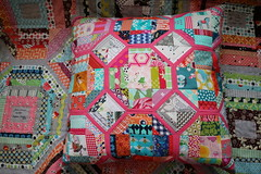 Mini octastring cushion for my Pillow Talk Swap partner (Reene@Nellie's Niceties) Tags: amybutler scrappy denyseschmidt robertkaufman heatherross patchworkcushion aurifil tulapink nelliesniceties minioctastrings octastringblock