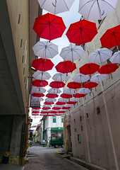 Red and white umbrellas above street, Perak state, Ipoh, Malaysia (Eric Lafforgue) Tags: street red sky white art public up rain weather festival vertical umbrella outside outdoors town asia southeastasia day looking many vibrant magic decoration nobody nopeople georgetown installation malaysia hanging colored shelter umbrellas magical ipoh decorated protecting shielding lowangleview colourimage perakstate malay3284