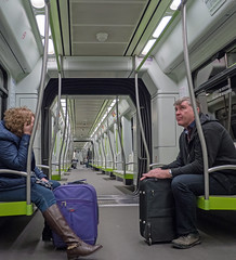 Off to Airport (Valencia Metro) (Panasonic Lumix GX8 & Panasonic 14mm Pancake Prime) (markdbaynham) Tags: people valencia lumix prime spain metro evil panasonic espana espanol pancake es f25 dmc csc gx8 spainish m43 14mm mft valencian mirrorless m3rd micro43 microfourthirds lumixer