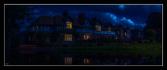 A Feeling of Home (Kevin, (Away 21 Oct / 9 Nov) Traveling) Tags: 12thcentury architecture building canon1100d canon1855mm clitheroe england hdr historical kevinwalker lancashire sky panorama panoramic night reflection windows