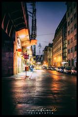 Georgenstraße (Krueger_Martin) Tags: georgenstrase strase street berlin blau blue nebel fog fernsehturm festbrennweite primelense 40mm city stadt urban light licht lights tram strasenbahn colorful bunt farbig reflex reflections spiegelung nacht night