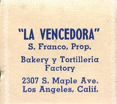 La Vencedora (jericl cat) Tags: matches matchbook match illustration vintage losangeles paper ephemera restaurant dining cocktail bakery tortilleria factory la vencedora maple mexican spanish
