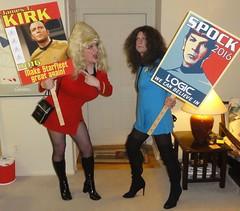 Red vs. Blue (rgaines) Tags: costume cosplay crossplay drag startrek tos dragqueens halloween highheelrace kirk spock funny humor election yeomanjanicerand