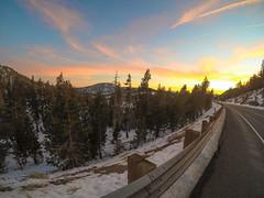 Road to Lake Tahoe Sunset LR (ugadawg1864) Tags: sun sunset newwashoecity nevada unitedstates incline village lake tahoe clouds color rail road trees gopro snow