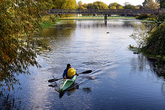 Day #3219 (cazphoto.co.uk) Tags: project366 beyond2922 231016 panasonic lumix dmcgh3 panasonic1235mmf28lumixgxvarioasphpowerois buoy kayak chelmsford rivercan ripples bridge water transport