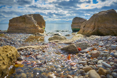 The stream (AudibleQuest) Tags: sonyalpha clouds stilllife toronto photography beach nature seascape water lines leading stream