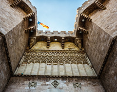 The Historic - Torres de Serranos -14th Century Christian City Gate (Valencia - Spain) (Cross Process Effect) (Olympus OMD EM5II & mZuiko 12-40mm f2.8 Pro Zoom) (markdbaynham) Tags: valencia valencian spain spainish city urban metropolis street es espana espanol oly olympus omd em5 em5ii csc evil mirrorless mft m43 m43rd micro43 micro43rd microfourthirds mz zd mzuiko zuikolic zuiko 1240mm f28 pro zoom