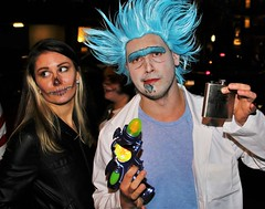 Is this a specific mad scientist? (sea turtle) Tags: halloween seattle capitolhill night evening dark costume costumes character characters pike pikestreet festive festivities celebration allhallowseve allsaintsnight allsoulsnight madscientist blue bluehair raygun flask blueeyebrows