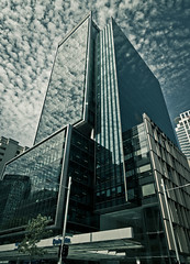 Auckland City (Marcos Venicius) Tags: city street queenstreet harbour urban clouds blue photography buildings sea