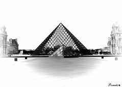 pyramides du louvre 3 (Pixmalo) Tags: paris pyramide louvre france noiretblanc blackandwhite